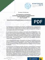 Kremser Erklärung - Parlamentarismus in der Informationsgesellschaft