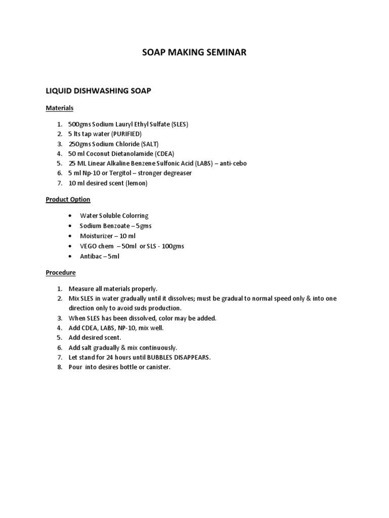 LIQUID DISHWASHING SOAP | Sodium Hydroxide | Sodium Carbonate