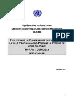 EVOLUTION DE LA VULNERABILITE DES MENAGES DE LA VILLE D'ANTANANARIVO PENDANT LA PERIODE DE CRISE POLITIQUE MCRAM – JUIN 2012