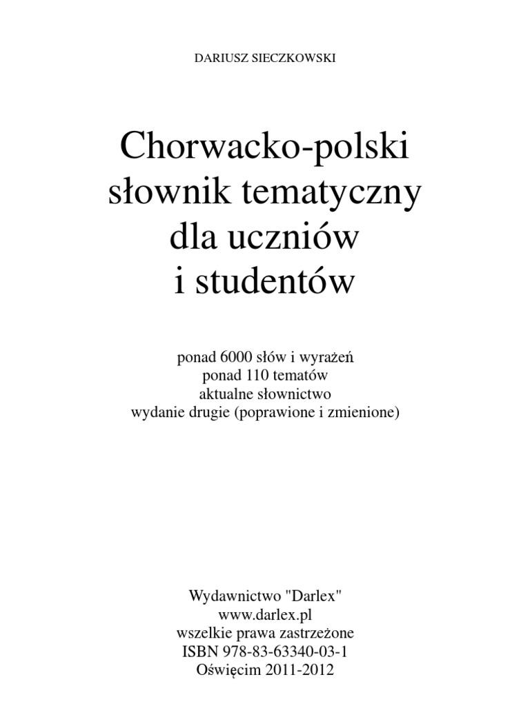 Dariusz Sieczkowsi Chorwacko Polski Słownik Tematyczny