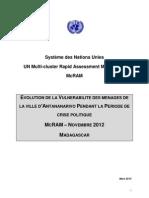 EVOLUTION DE LA VULNERABILITE DES MENAGES DE LA VILLE D'ANTANANARIVO PENDANT LA PERIODE DE CRISE POLITIQUE - MCRAM – NOVEMBRE 2012