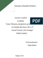 Lucrare Creativa -Valoarea Energetica a Proteinelor