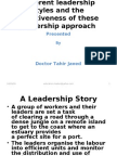 Different Leadership Styles and the Effectiveness of These.