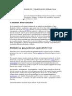 Objeto Del Derecho y Clasificacion de Las Cosas