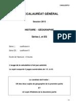 Histoire-Geographie ES L 2013