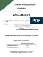 Anglais LV1 BTN 2013