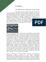 Políticas de Memoria en Argentina