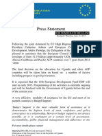 13 06 2013 Press Statement on 11th European Development Fund for Africa Caribbean & Pacific countries