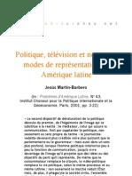 Politique, télévision et nouveaux modes de représentation en Amérique Latine
