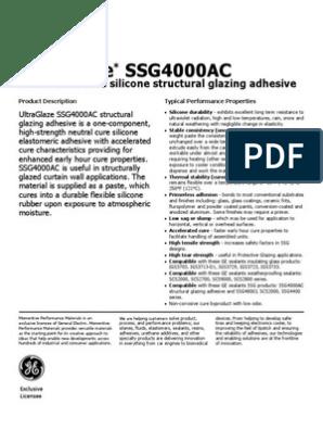 Data Sheet SSG4000AC UltraGlaze | Adhesive | Silicone