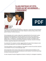 Appoint Civilian Instead of Rtd. Military Officer as Np Governor Ranil Tells President