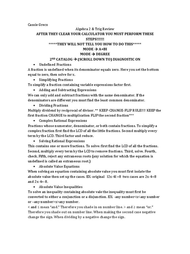 Algebra 2 & Trig Regent Review Trigonometric Functions Fraction  (mathematics)