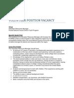 Volunteer Regional Manager Position Description - FLNG Child & Youth Program