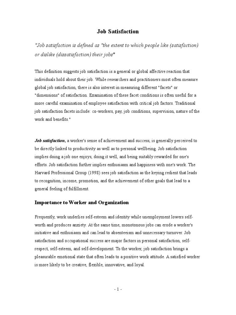job satisfaction literature review