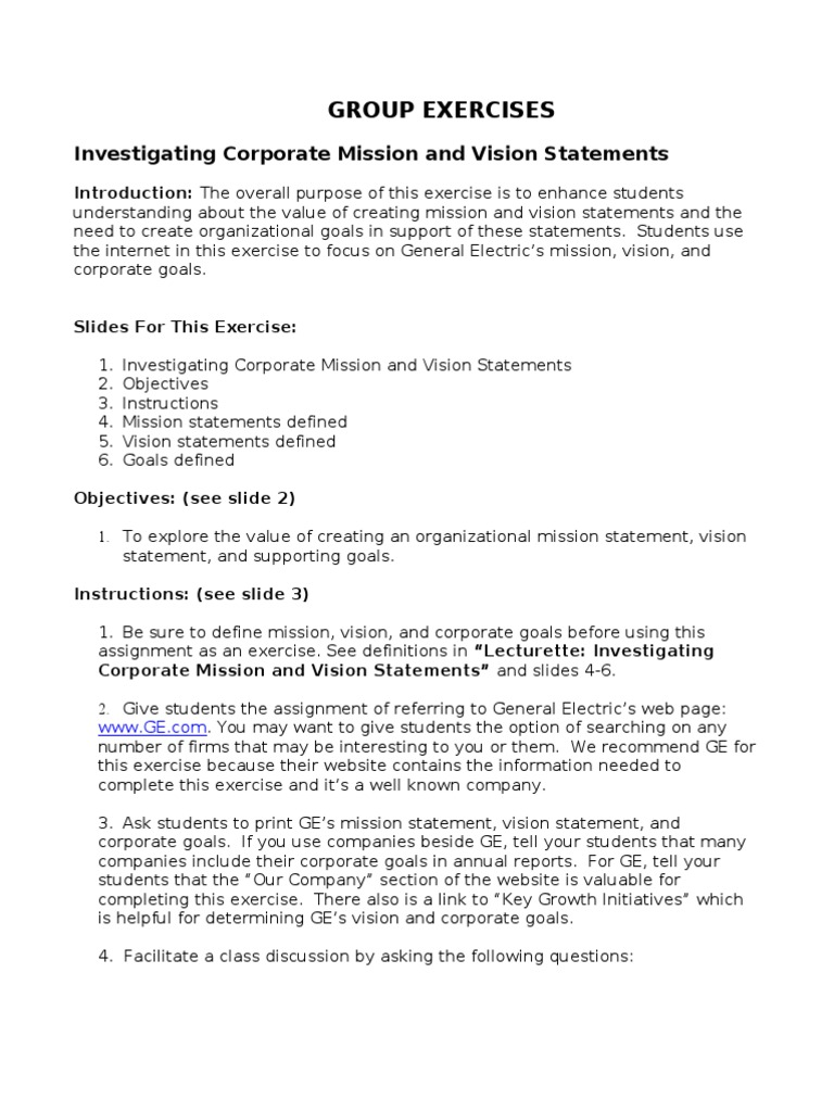 interesting vision statements