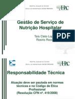 Gestão de Serviço de Nutrição Hospitalar