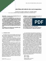 Variacion de Las Propiedades Fisicas Del ZnO Con La Temperatura