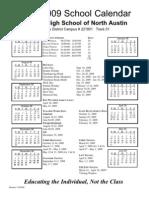 North Austin 08-09 Calendar