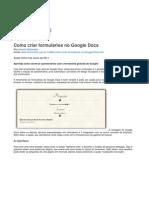 Google Docs - Criar Formulário