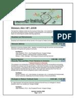 Summer Institute 2009 Schedule