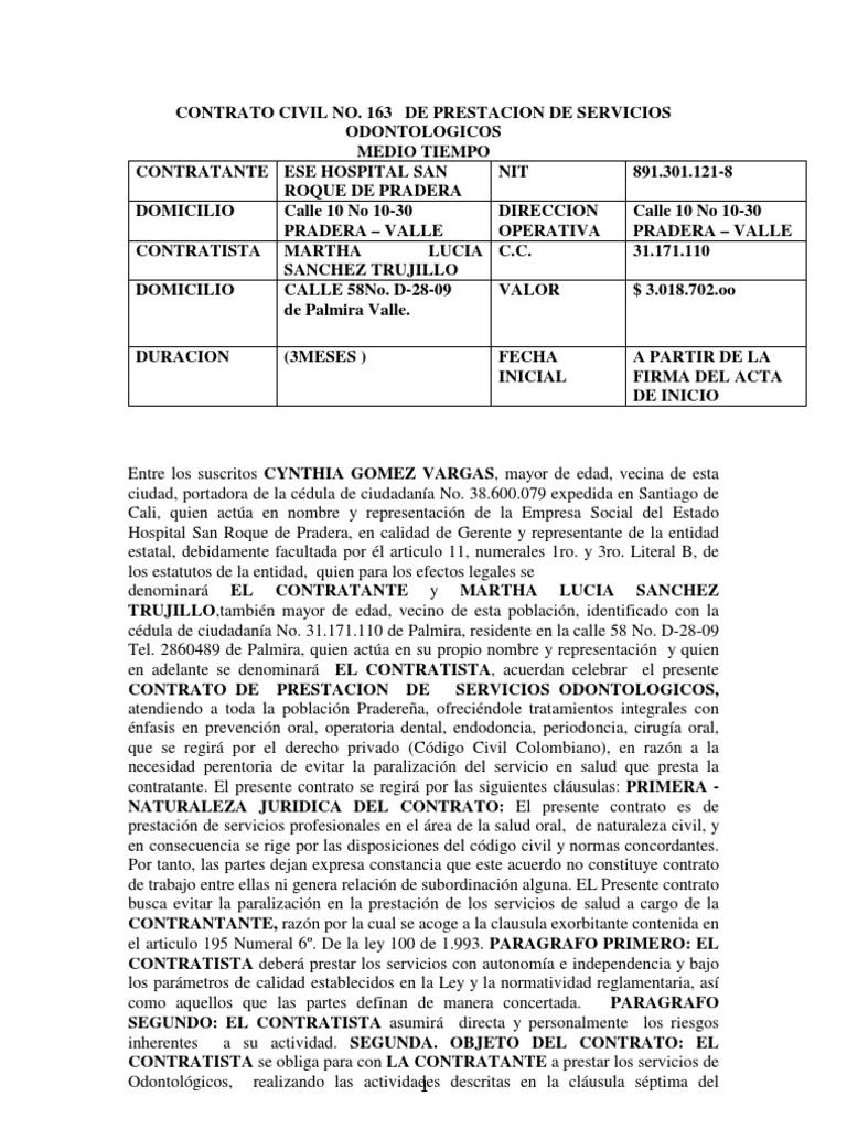Modelo De Contrato De Prestacion De Servicios Profesionales Para ...