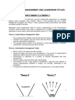 Summary of Management and Leadership Styles