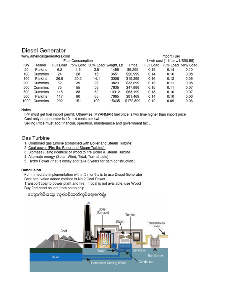 Generatorcomparison Diesel Engine Engines Power Plant Diagram