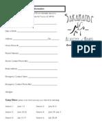2009 Summer Camp Registration Form