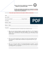 Personal Questionnaire - International Banking License Application