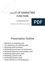Audit of Marketing Function