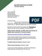 Obama Refuses Offer ANY Proof Anwar Al-Awlaki Was Involved…
