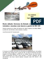Neste sábado Governo do Estado realiza leilão de veículos e sucatas com lances a partir de R$ 100