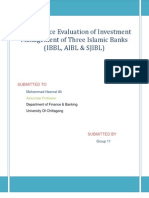 Performance Evaluation of Investment Management of 3 Islamic Banks