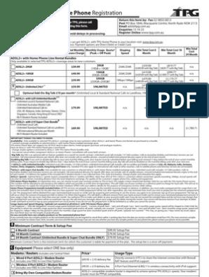 ADSL2+ With TPG Home Phone Rego Form | Debit Card | Iptv