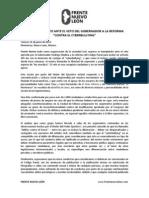 "Frente Nuevo León - Posición por veto a ""reforma contra cyberbullying"""
