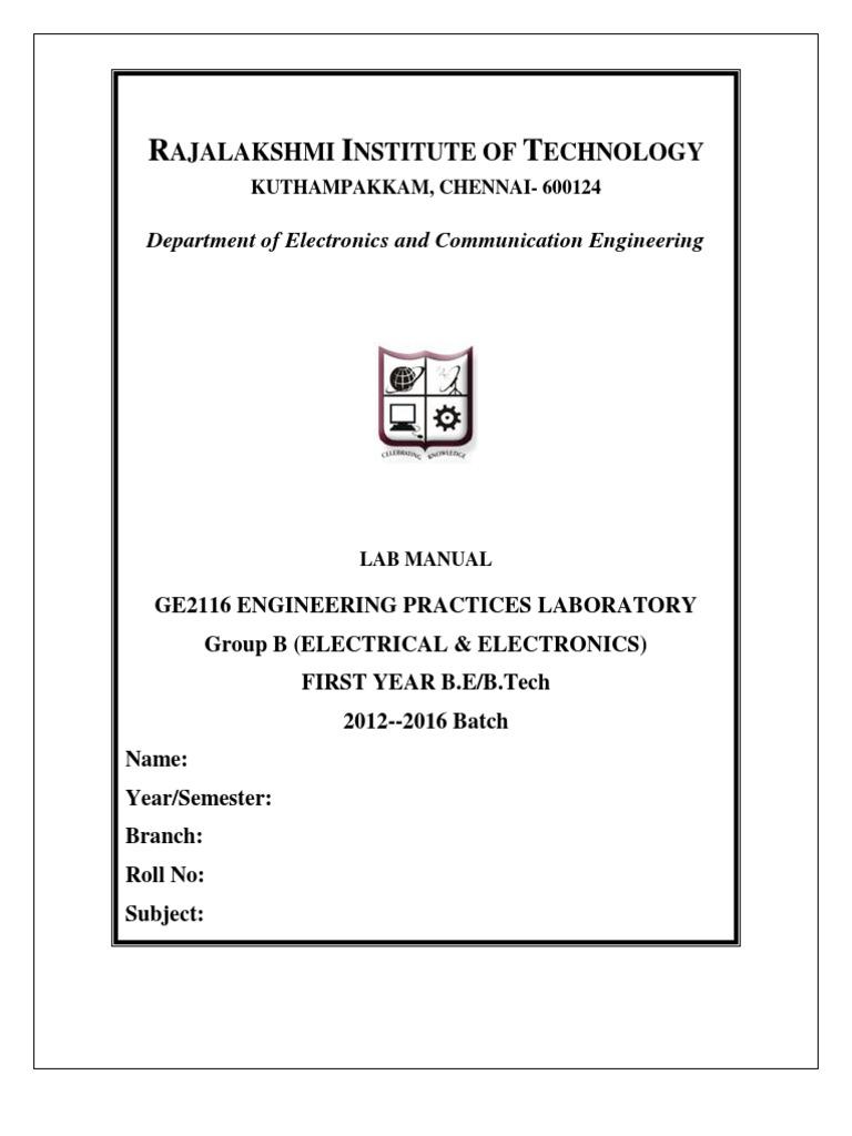 Electrical Wiring Lab Manual Pdf - Arbortech.us