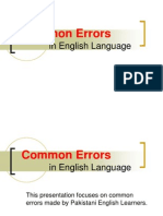 SLA-Common Errors in English Language