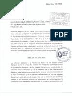 Frente Nuevo León - Texto del veto del Gobernador de NL a reforma por cyberbullying