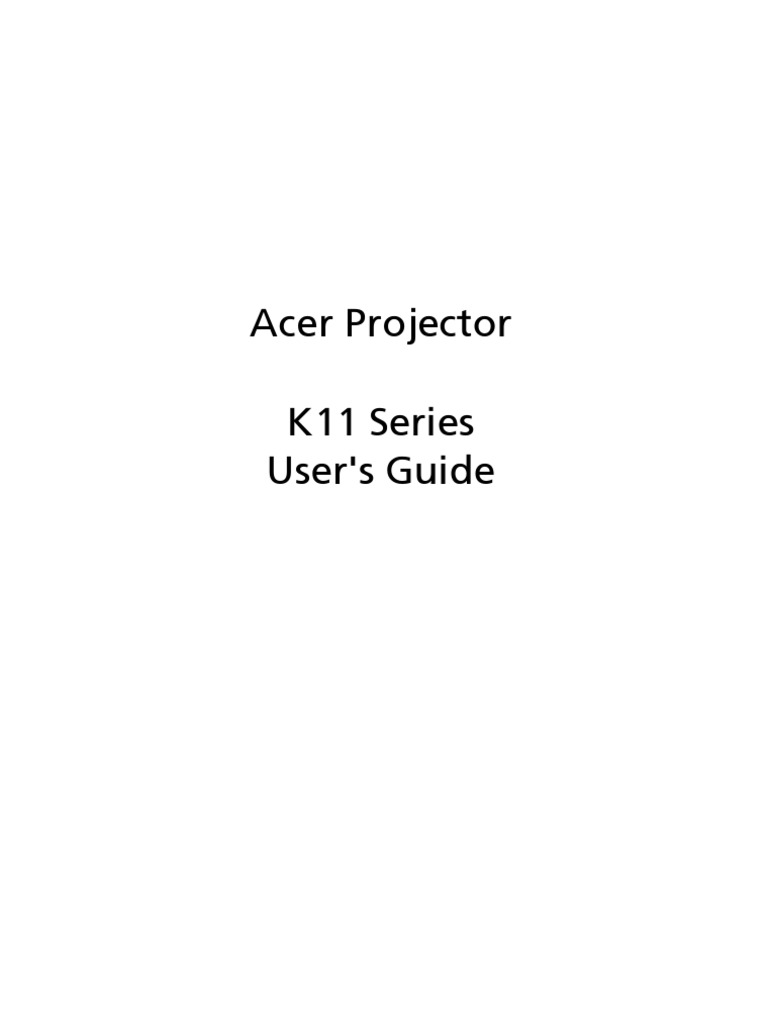 ACER Projector K11 Manual | Ac Power Plugs And Sockets | Display