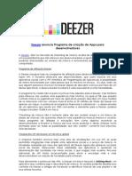 Deezer anuncia Programa de criação de Apps para desenvolvedores