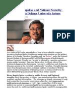 Gotabaya Rajapaksa and National Security the Kotelawala Defence University Lecture