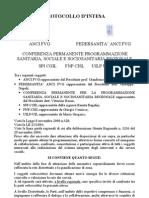 Protocollo d'intesa fra l'A.N.C.I. F.V.G., Federsanità A.N.C.I. F.V.G. e le organizzazioni Sindacali dei PENSIONATI, Palmanova 30 gennaio 2002