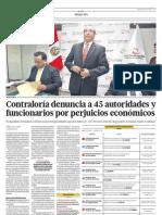Contraloría denuncia a 45 autoridades y funcionarios por perjuicios económicos