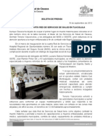 18/09/12 Germán Tenorio Vasconcelos instala Red de Servicios de Salud en Tlacoclula