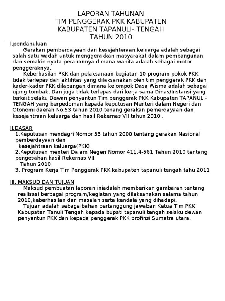 Laporan Tahunan Tim Penggerak Pkk Kabupaten Kabupaten Tapanuli