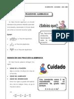 - Fracciones Algebraicas