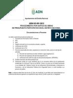 ADN-SO-001-2013 Formatos de Aplicacion Sorteo de Obras