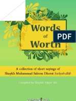Words of Worth  from the Sayings of Maulana Muhammad Saleem Dhorat www.at-taziyah.com