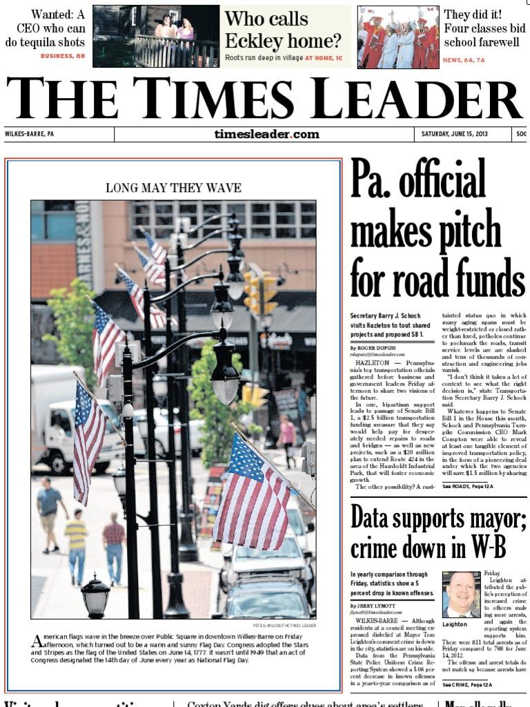 Times Leader 06 15 2013 Barack Obama