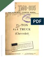 Tm 9-805 CHEVROLET 1.5 TON